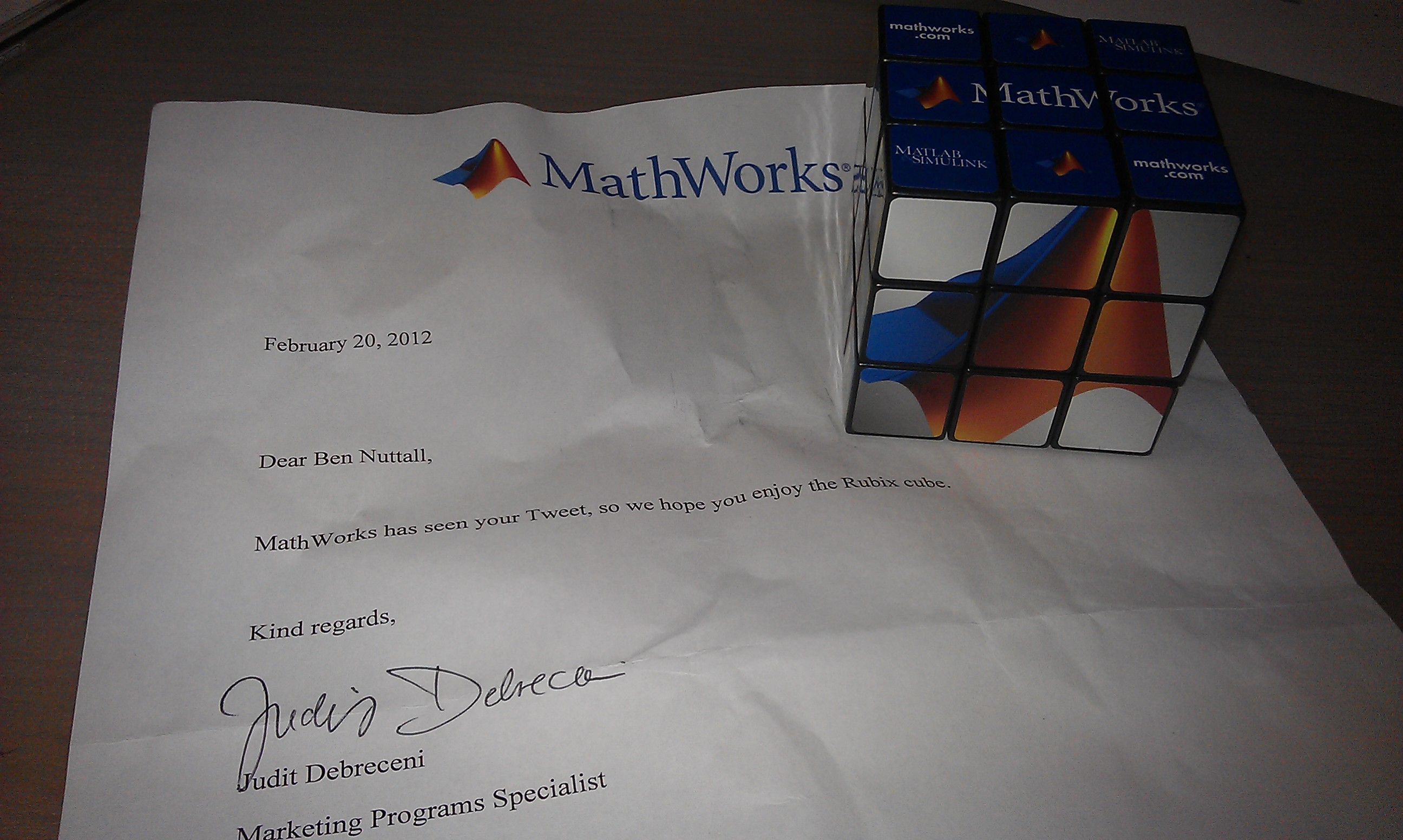 Mathworks Sent Me a Rubik's Cube